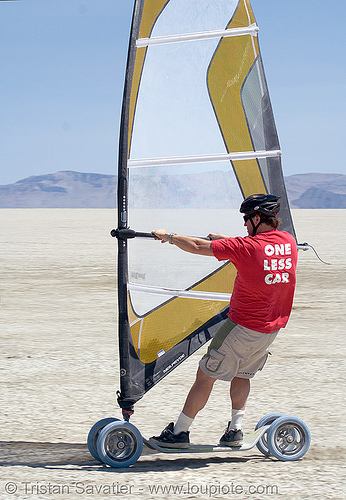 landsailing (black rock desert, nevada), black rock desert, landboard, landsailing, one less car, people, playa, sailing, speedsail, speedsailing, windsurf, windsurfer, windsurfing