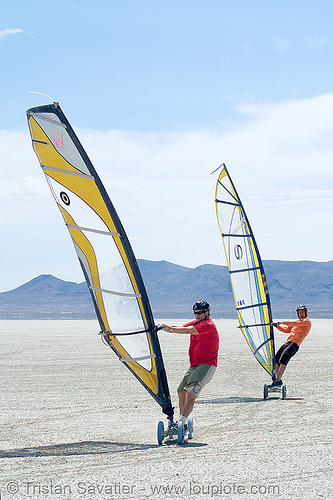 landsailing (black rock desert, nevada), landboard, people, playa, sailing, speedsail, speedsailing, windsurf, windsurfers, windsurfing
