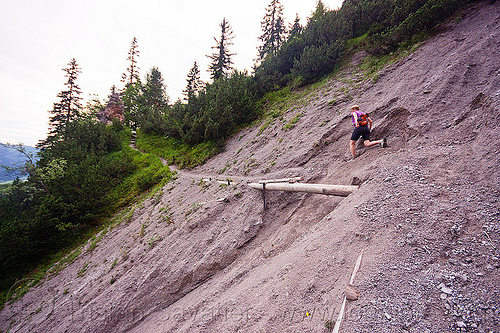 landslide - mountain hiking, austria, austrian alps, hiking, landslide, mountains, rugged, saalfelden, steep, susi, trail, woman