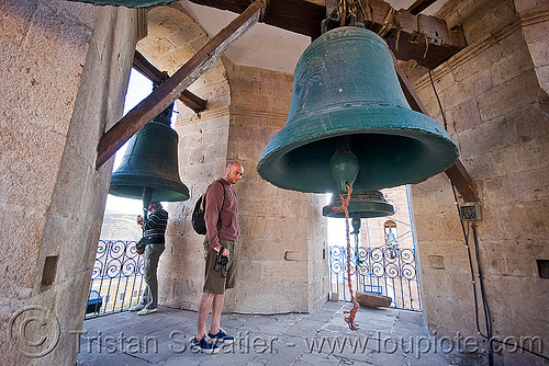 large bells, bells, belltower, brass, campanil, catedral de potosí, cathedral, church tower, emiliano, graciela, man