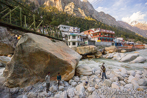 large boulders in bhagirathi river - gangotri (india), bhagirathi river, bhagirathi valley, boulders, gangotri, hammering, india, men, mountains, river bed, rock, working