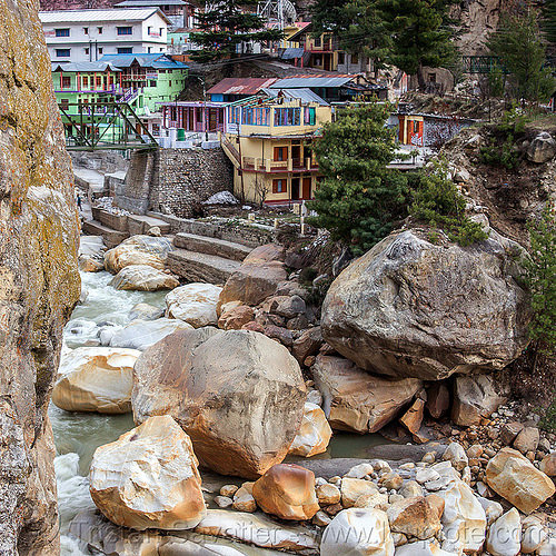 large boulders in the bhagirathi river - gangotri (india), bhagirathi river, bhagirathi valley, boulders, gangotri, mountains, river bed, rock, stone, water