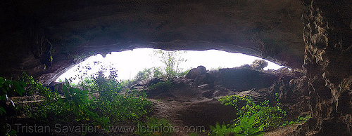 large cave on desert island (halong bay) - vietnam, cat ba island, cave mouth, caving, cát bà, grotto, halong bay cave, natural cave, panorama, photo stitching, spelunking, vietnam