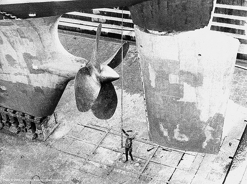 large ship propeller - dry dock, bap, batiment atelier polyvalent, boat propeller, dry dock, french navy, man, marine nationale française, rudder, ship propeller, sri lanka