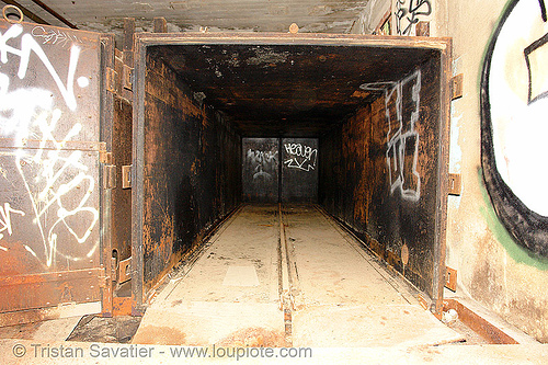 large steel box in abandoned factory, derelict, iful, tie's warehouse, trespassing