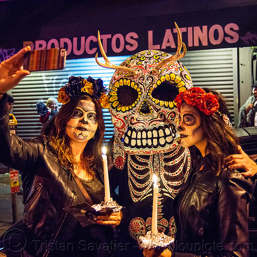 large sugar skull mask with antlers - dia de los muertos, candles, cell phone, day of the dead, face painting, facepaint, flower headdress, halloween, makeup, mobile phone, night, people, productos latinos, selfie, skull makeup, sugar skull makeup, women