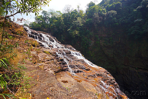 large waterfall near mawlynnong (india), cascade, east khasi hills, falls, jungle, mawlynnong waterfall, meghalaya, rain forest, river, rocks, water