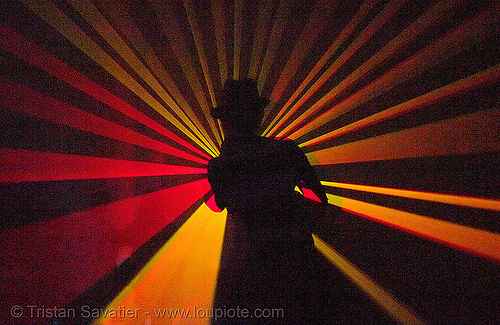 laser show - shadow with hat in warehouse underground rave party, backlight, hat, laser lightshow, laser show, lasers, nightclub, nightlife, rave lights, rave party, ravers, shadows, silhouettes, underground party, warehouse party