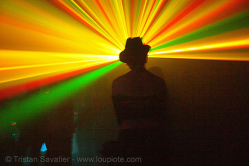 laser show - shadow with hat - warehouse underground rave party, backlight, laser lightshow, laser show, lasers, nightclub, nightlife, rave lights, ravers, silhouettes