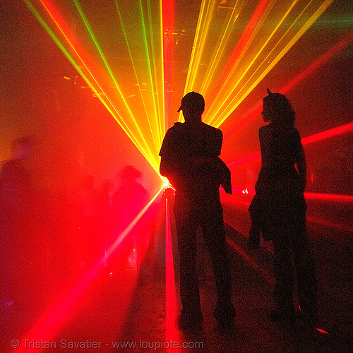 laser show - shadows in underground rave party, backlight, laser lightshow, laser show, lasers, nightclub, nightlife, rave lights, ravers, red, silhouettes
