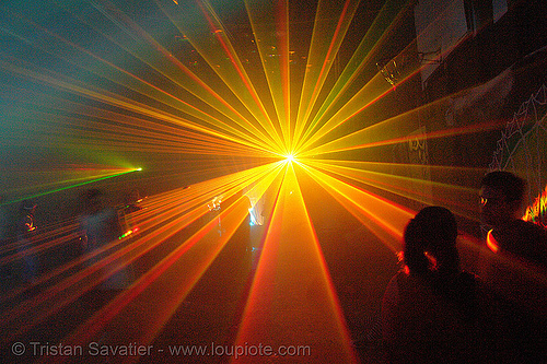 laser show - warehouse underground rave party, backlight, laser lightshow, laser show, lasers, nightclub, nightlife, rave lights, ravers, silhouettes