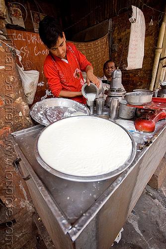 lassi stand - dahi (curd) - delhi (india), people, yogurt