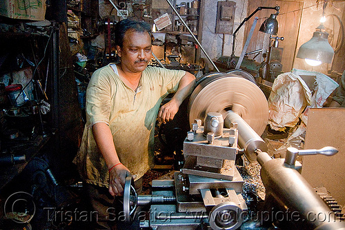 lathe operator in machine shop, delhi, india, machine shop, machine tools, man, mechanical workshop, metal lathe, mohd. yusuf & sons, operating, operator, running, turning, worker, working