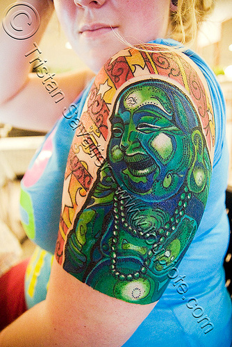 laughing buddha tattoo - รอยสัก, arm tattoo, bangkok, fat buddha, green budai, hotei, jen, laughing buddha, tattooed, tattoos, thailand, บางกอก, รอยสัก, สังกัจจายน์, 布袋, 笑佛