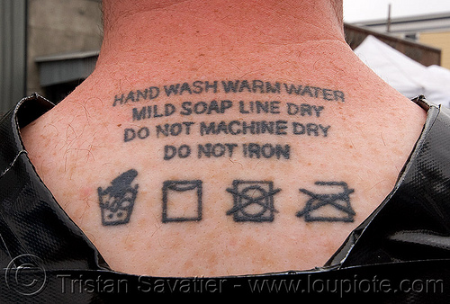 washable tattoo, laundry, neck tattoo, people, tattooed, tattoos, washing instructions