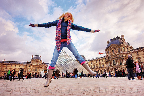 le louvre pyramid - paris, blonde, clouds, crowd, jump shot, le louvre, paris, pyramid, scarf, spread legs, tourists, woman