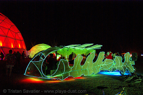 the leaf art car - burning man 2007, burning man, glowing, leaf art car, leafy lounge, leaves, mutant vehicles, night