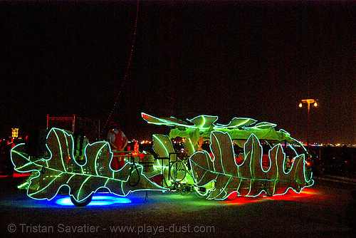the leaf car - burning man 2007, art car, leafy lounge, leaves, night