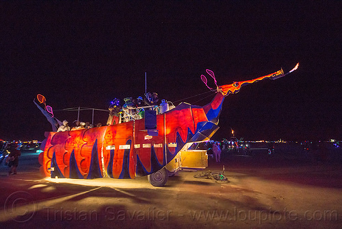 leafy sea dragon art car - burning man 2015, art car, burning man, glowing, gps camp, hypocampus, leafy sea dragon, mutant vehicles, night, seadragon, seahorse