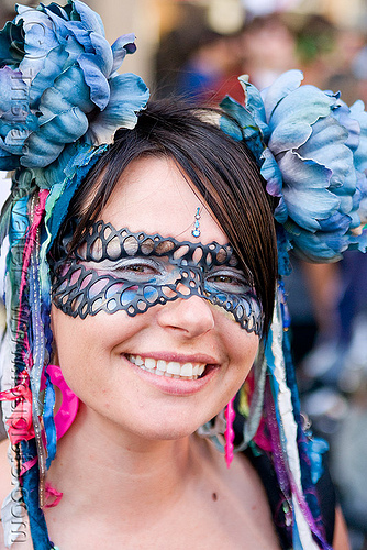 leather lace carnival mask, blue flowers, carnival mask, headdress, how weird festival, lace, leather, woman