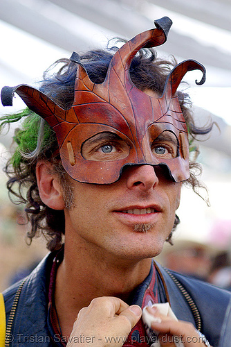 leather mask - ricardo - burning man 2007, burning man, center camp, leather, mask, ricardo