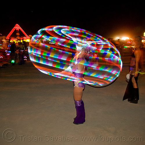 LED hoop - burning man 2009, burning man, hula hoop, hula hooper, led hoop, led light, light hoop, night, tammy firefly, woman