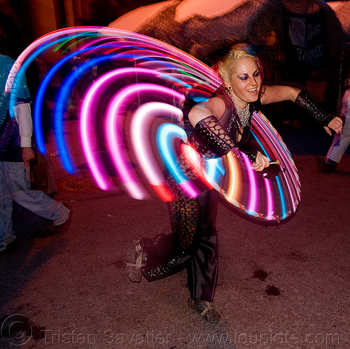 LED hoop - burning man decompression 2009 (san francisco), hula hoop, hula hooper, hula hooping, led hoop, light hoop, woman