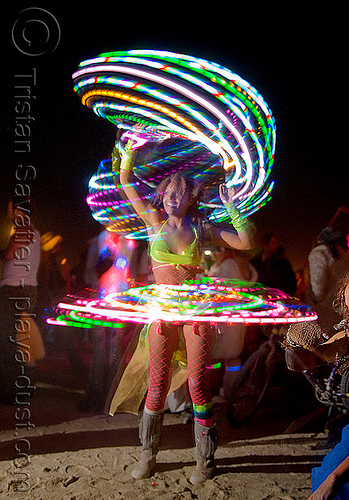 LED hoops - michele - burning man 2008, burning man, glowing, hooper, hulahoops, led hoop, led hula hoop, led lights, led-light, light hoop, michele, night, woman