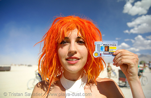 "leeloo dallas ""multipass!"" from the 5th element - burning man 2007, burning man, leeloo dallas, leeloo minaï, min, multipass, tasha, the 5th element, the fifth element, woman"