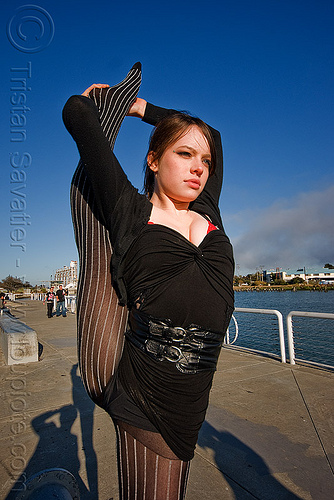 leg scale - stretching, contortionist, islais creek promenade, leg scale, natasha, stretching, superhero street fair, woman
