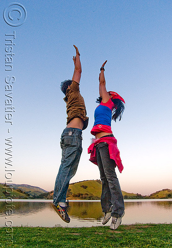 levitation - two people jumping - stafford lake string party (san francisco), floating, flying, jump, jumper, jumpshot, man, woman