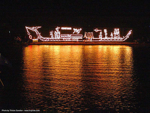 light decorated boat at night - festival on lake - thailand, decorated, dragon boat, festival, lake, light decorations, night, reflection, si ratchanalai, songkran, water, ประเทศไทย, สงกรานต์