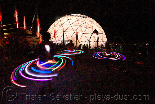 light hoopers near root society dome - burning man 2008, burning man, geodesic dome, glowing, hooper, hula hoop, led hoop, led lights, light hoop, night, root society