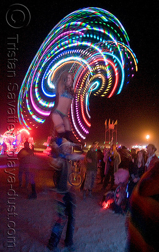 light hula hooper - burning man 2008, burning man, glowing, hooper, hula hoop, led hoop, led lights, light hoop, night, woman