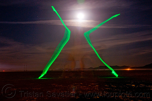 light painting - burning man 2009, burning man, full moon, green glow-stick, light drawing, light graffiti, light painting, long exposure, night