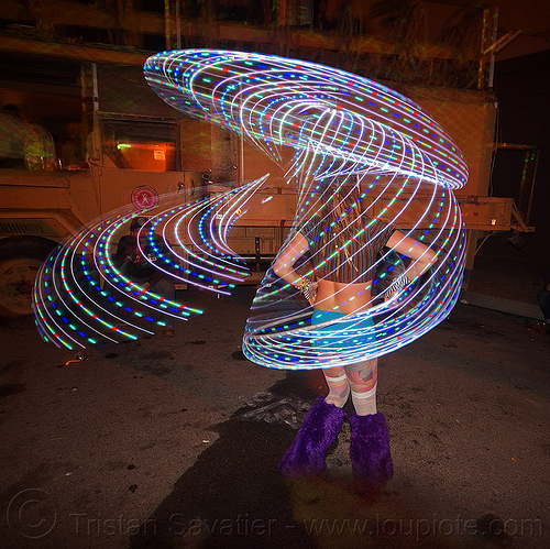 light painting with LED hoop, glowing, hooper, hooping, hulahoop, led hoop, led lights, light hoop, night, woman