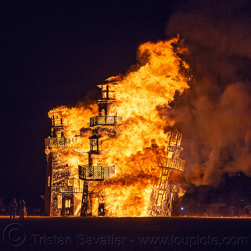 the lighthouse burning - burning man 2016, art installation, black rock lighthouse, burning man, fire, flame, night