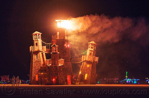 the lighthouse burning - burning man 2016, art installation, black rock lighthouse, burning man, fire, flames, night