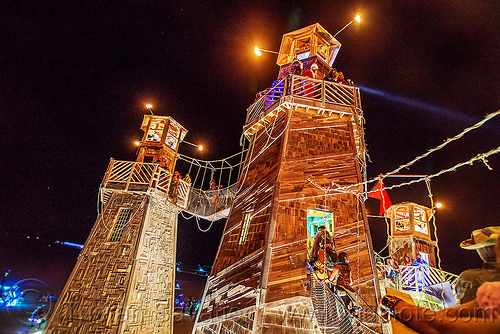 the lighthouse - burning man 2016, art installation, black rock lighthouse, burning man, light house, night