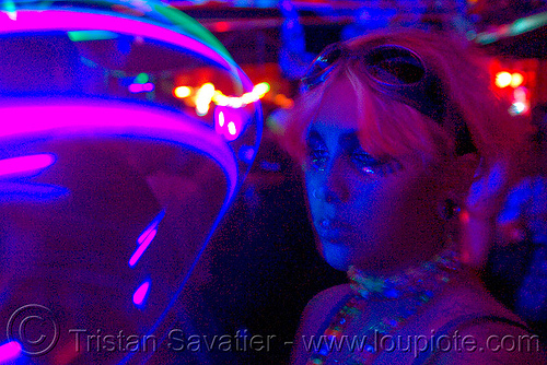 lightshow - young woman and moving LED lights in rave party, emma, led lights, lightshow, night, photo lights, rave lights, raver, woman
