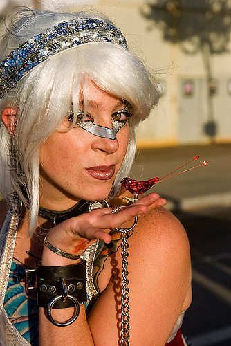lily - superhero street fair (san francisco), chain, islais creek promenade, leather, makeup, superhero street fair, woman
