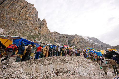 line of pilgrims heading for the cave - amarnath yatra (pilgrimage) - kashmir, amarnath yatra, crowd, hiking, hindu pilgrimage, india, kashmir, mountains, pilgrims, snow, trail, trekking