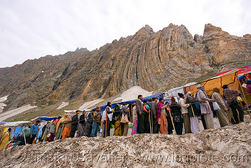 line of pilgrims heading for the cave - amarnath yatra (pilgrimage) - kashmir, amarnath yatra, crowd, hiking, hindu pilgrimage, india, kashmir, line, mountains, pilgrims, snow, trail, trekking