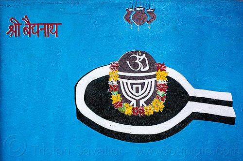 lingam - water droplets - om - hindu symbolism (india), flowers, hinduism, india, om, painting, shiva lingam, symbol, symbolism, water droplets