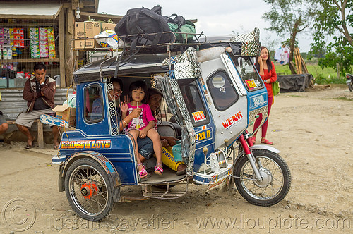 little girl in motorized tricycle (philippines), child, colorful, kid, little girl, motorcycle, motorized tricycle, passengers, philippines, sidecar, sitting