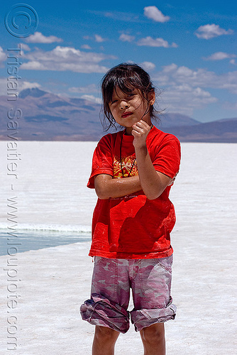 little girl - salinas grandes - salar (argentina), blue sky, child, halite, jujuy, kid, little girl, noroeste argentino, people, rock salt, salar, salinas grandes, salt bed, salt flats, salt lake, white