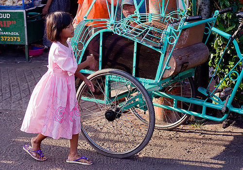 little girl with pink dress near a rickshaw, becak, child, cycle rickshaw, cyclo, indonesia, jogja, kid, pink dress, yogyakarta