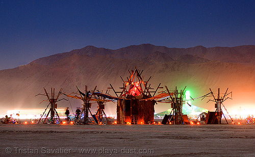 living pulse - burning man 2007, art installation, burning man, living pulse, night