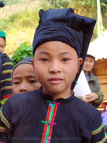"""lo lo den"" tribe girl - vietnam, black lo lo tribe, children, colorful, hill tribes, indigenous, kids, little girl, lo lo den tribe, vietnam"