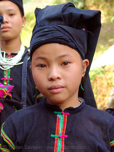 """lo lo den"" tribe girl - vietnam, black lo lo tribe, children, girls, hat, headwear, hill tribes, indigenous, kids, little girl, lo lo den tribe, tribe girl"